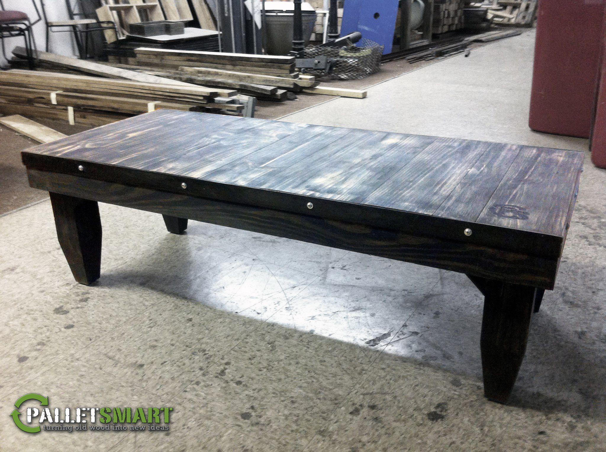 Repurposed pallet wood ebony distressed coffee table with metal