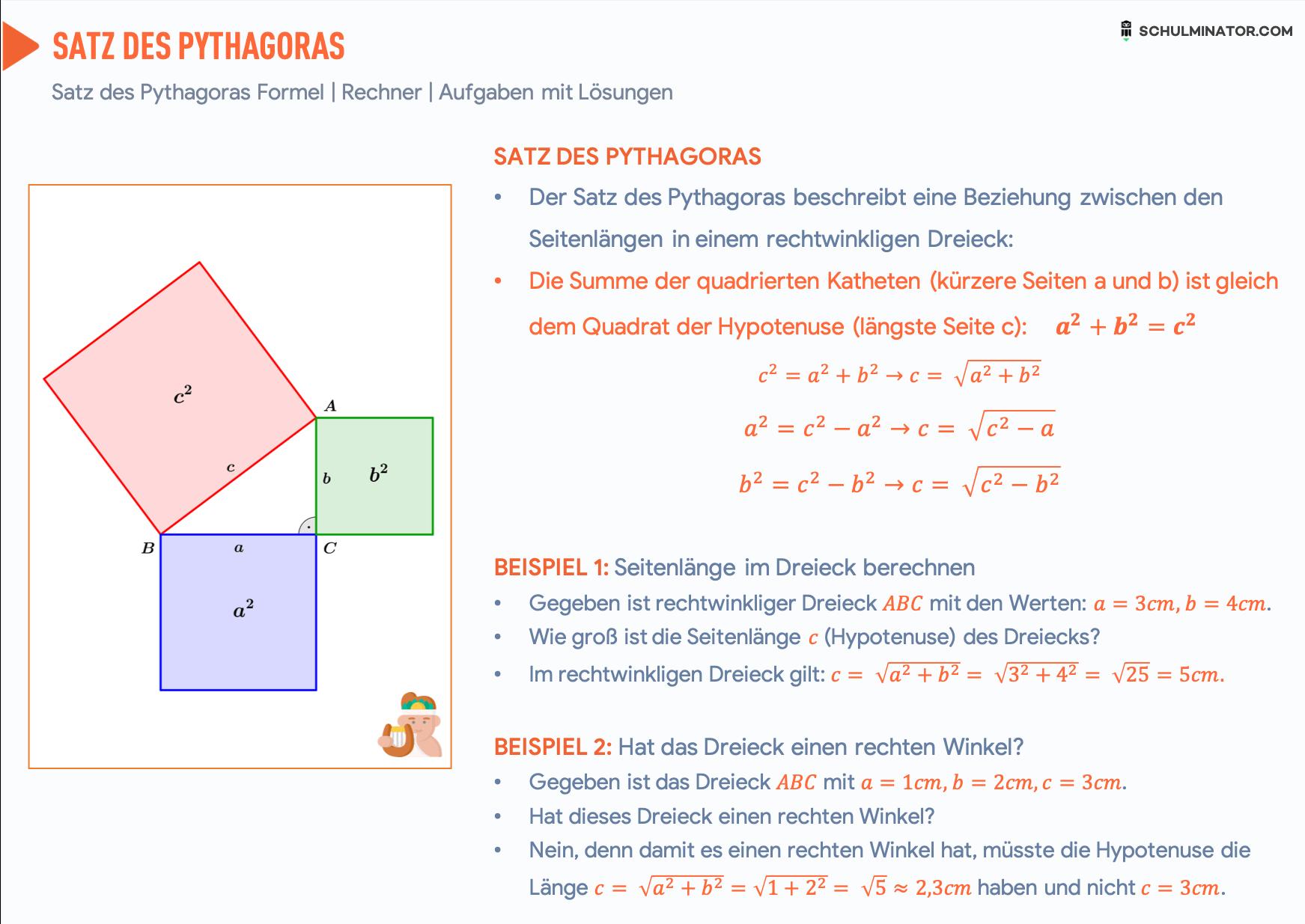 Satz Des Pythagoras Formel Anwendung Satz Des Pythagoras Mathe Formeln Lernen Tipps Schule