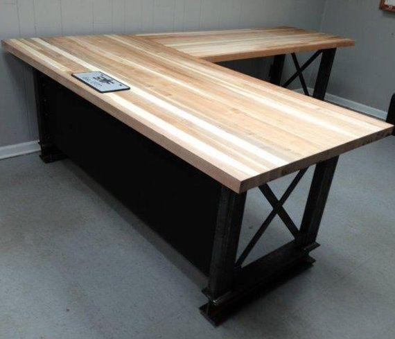 Rustic Americana Hardwood Executive Desk Home Office: The Carruca Desk Office Desk Industrial Desk L By