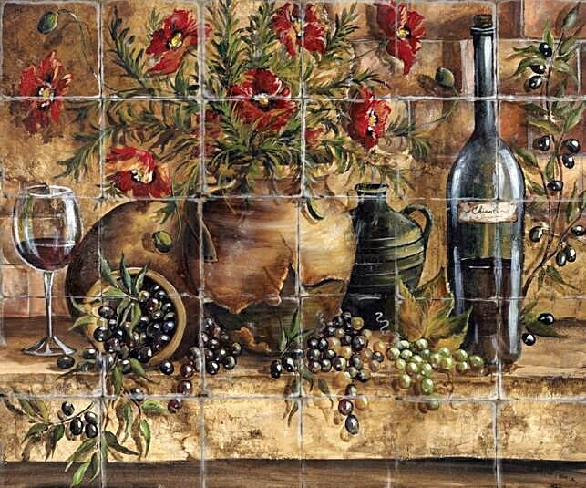 Mural Tiles For Kitchen Decor Tuscan Decorating Ideas  Tuscan Kitchen Tile Murals » Kitchen