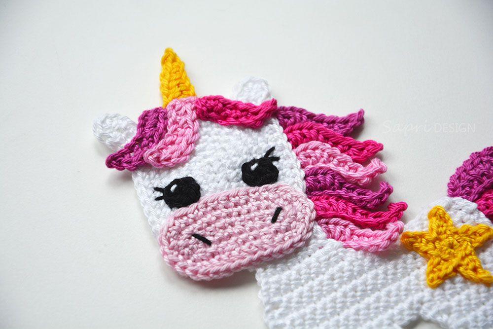 Einhorn Applikation Gehäkelt Häkeln Aufnäher Unicorn Applique