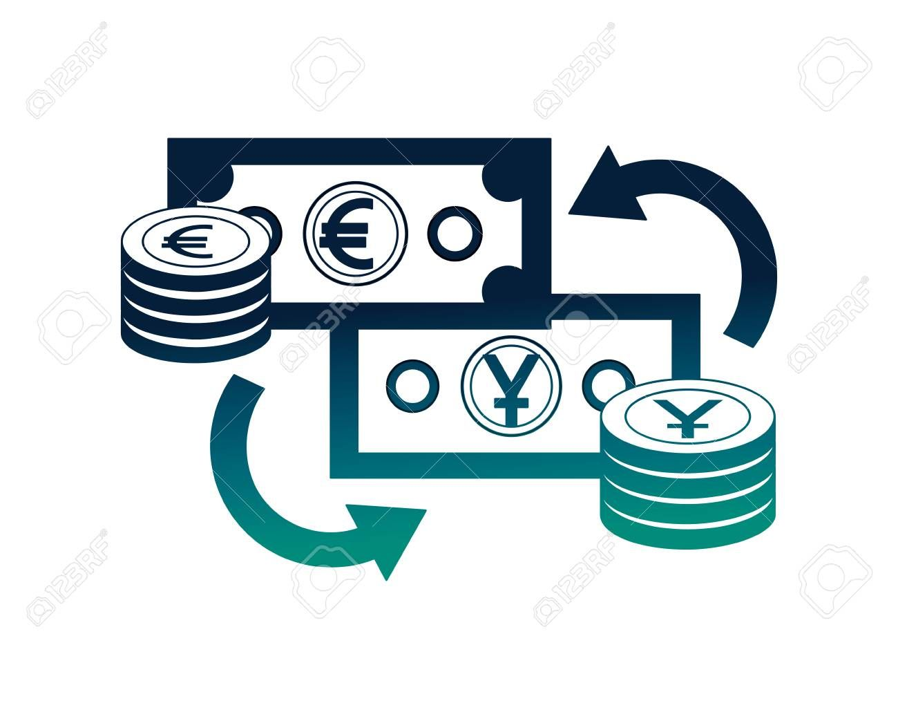 foreign exchange bills yen and euro coins stacked currency vector illustration neon Illustration ,