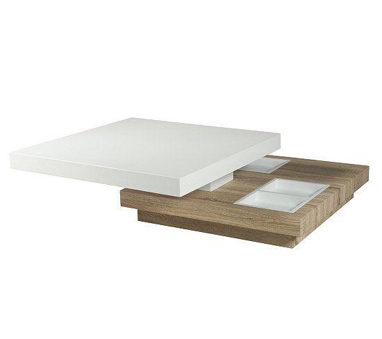 Chêne Et Basse Turn Flat Table Pivotante Blanc LaquéNew O0PknX8w