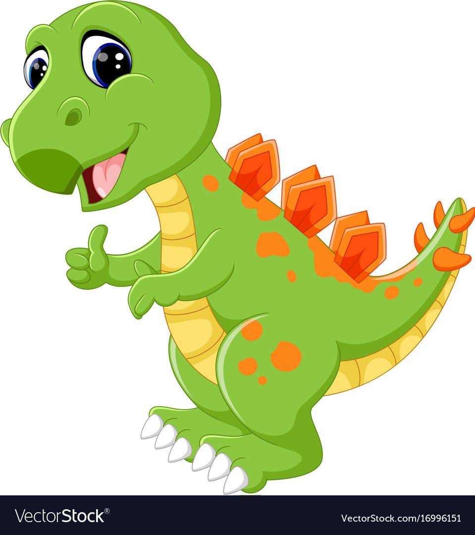 Cartoon Cute Dinosaur Vector Image On Vectorstock Cute Dinosaur Dinosaur Pictures Dinosaur