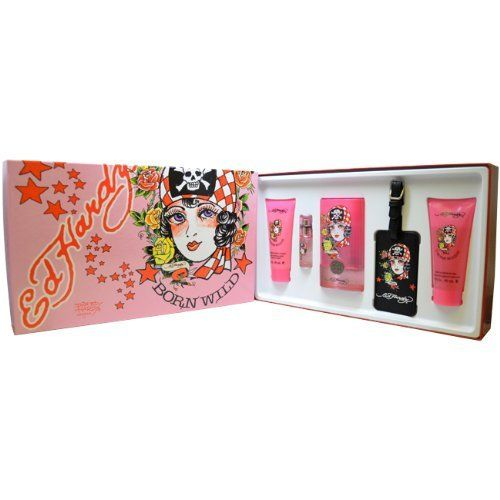 Ed Hardy Pink Perfume By Christian Audigier 3 4 Oz Edp Spray For Women New: Christian Audigier Ed Hardy Born Wild Set For Women With Luggage Tag By Christian Audigier. Save