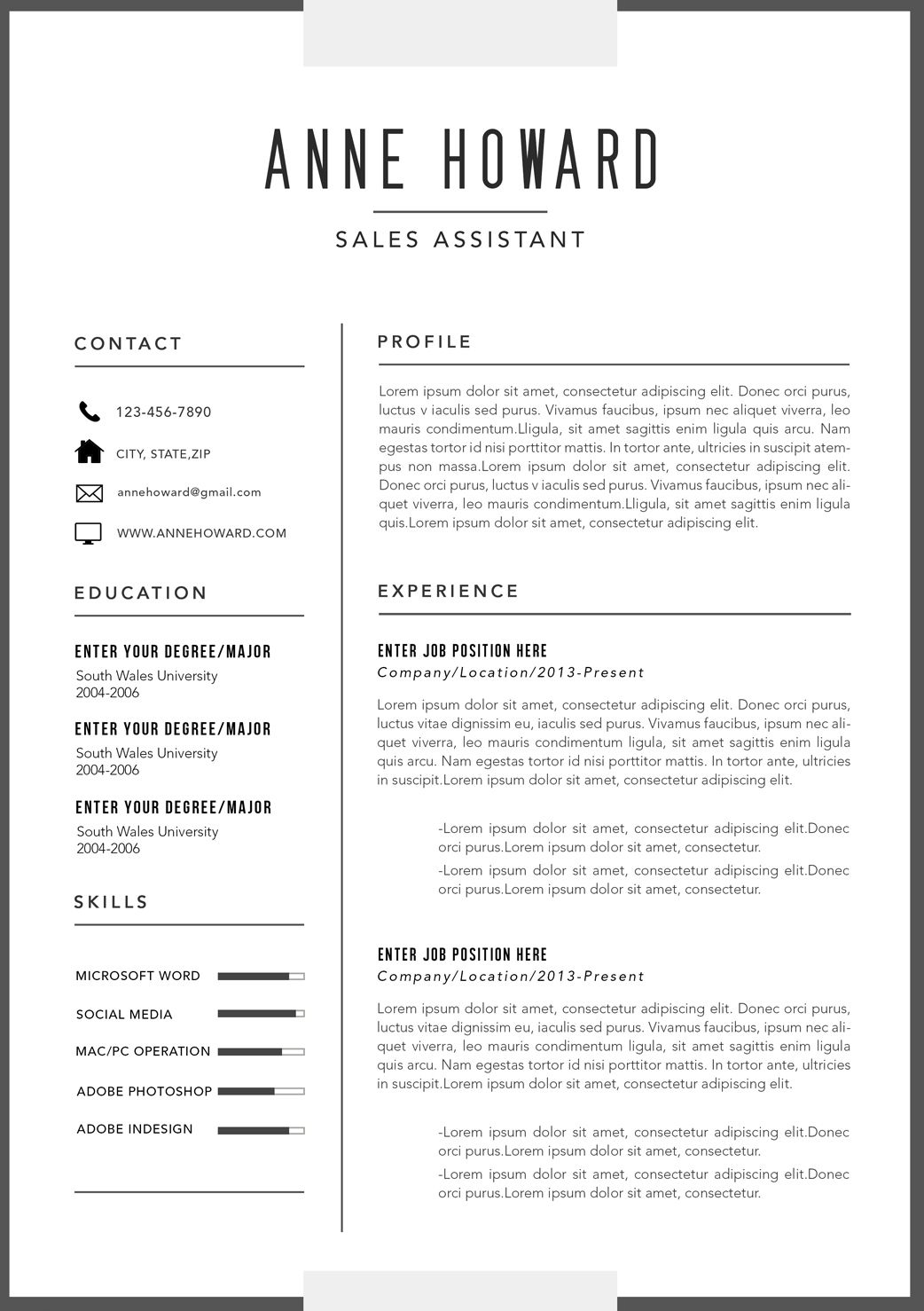 Image result for resume template Resume template, Modern