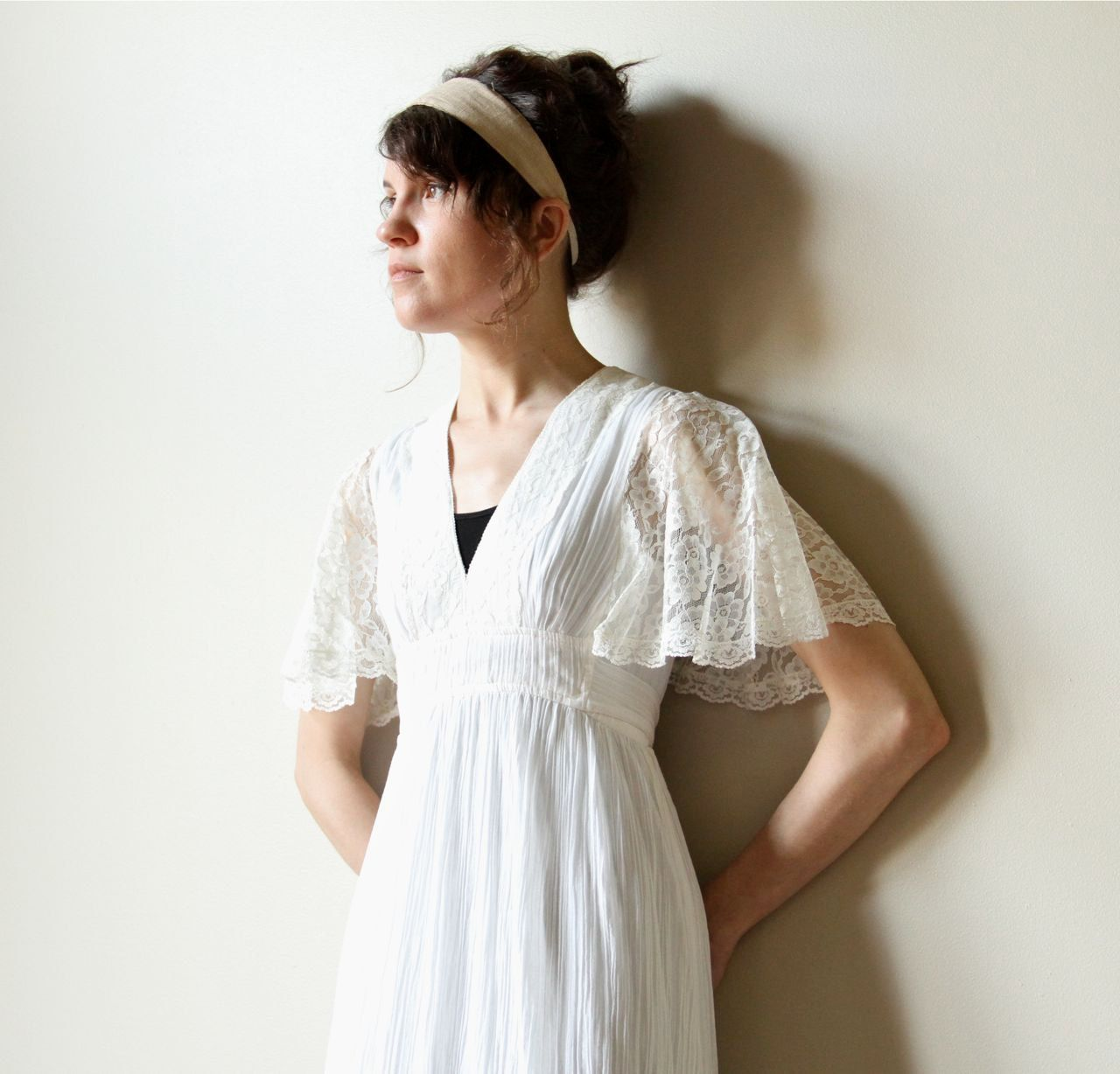 70s Boho Wedding Dress vintage hippie ivory off white