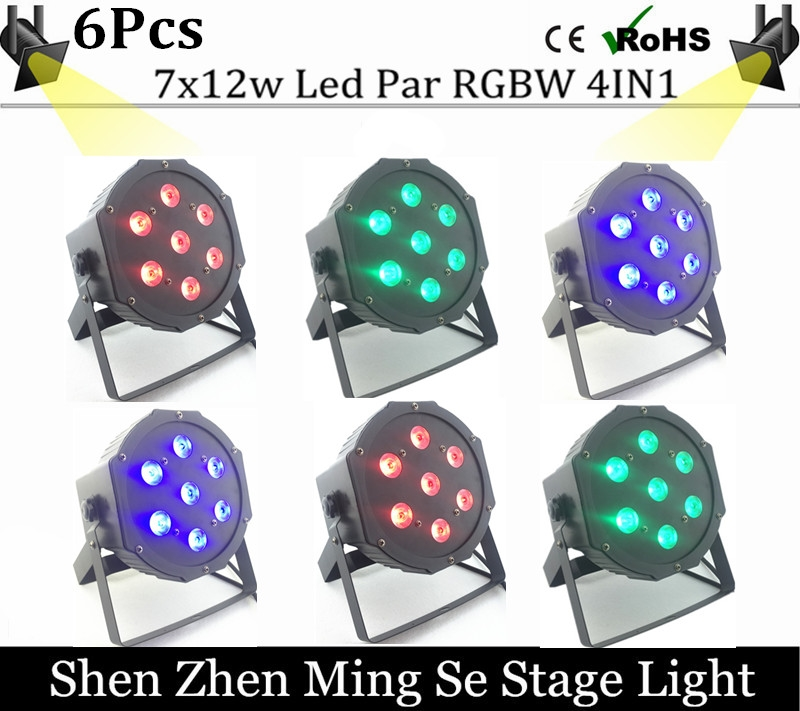 158.00$  Buy here - http://alivft.shopchina.info/1/go.php?t=32731982178 - 6pcs /lots  7x12w led Par lights  RGBW 4in1 flat par led dmx512  disco lights professional stage dj equipment  #magazine