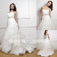 2013 New Fashion Sweetheart  Organza Ruffles  beaded waistline Mermaid  wedding dress Bridal dress BS1867