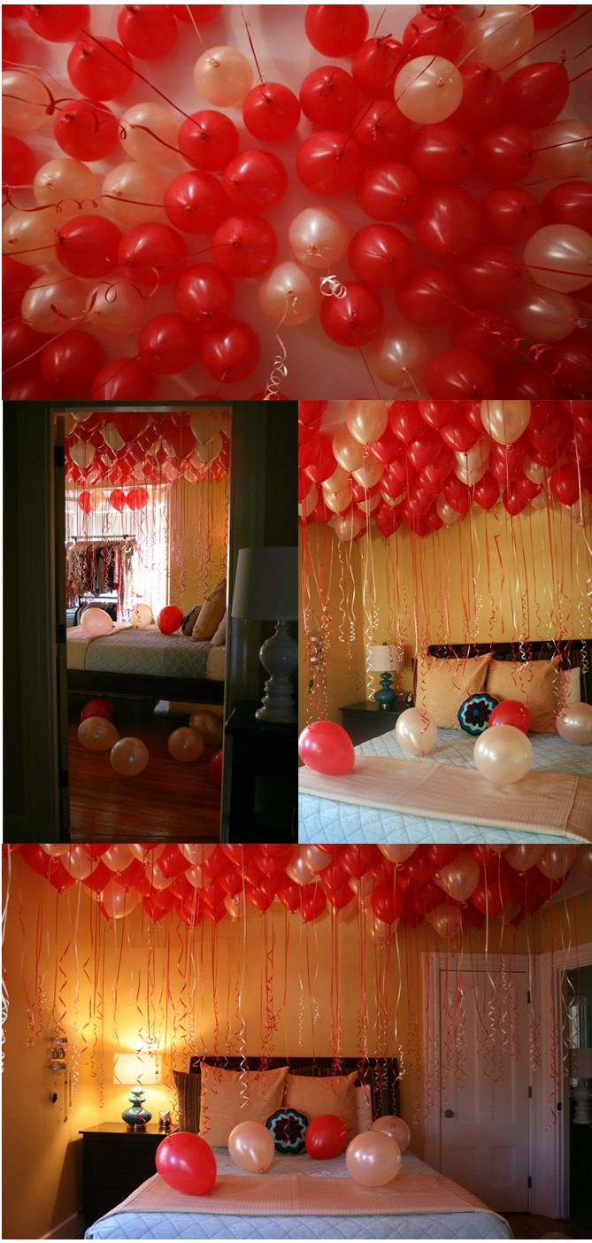 Surprise balloons fill a whole room for any for Bed decoration anniversary