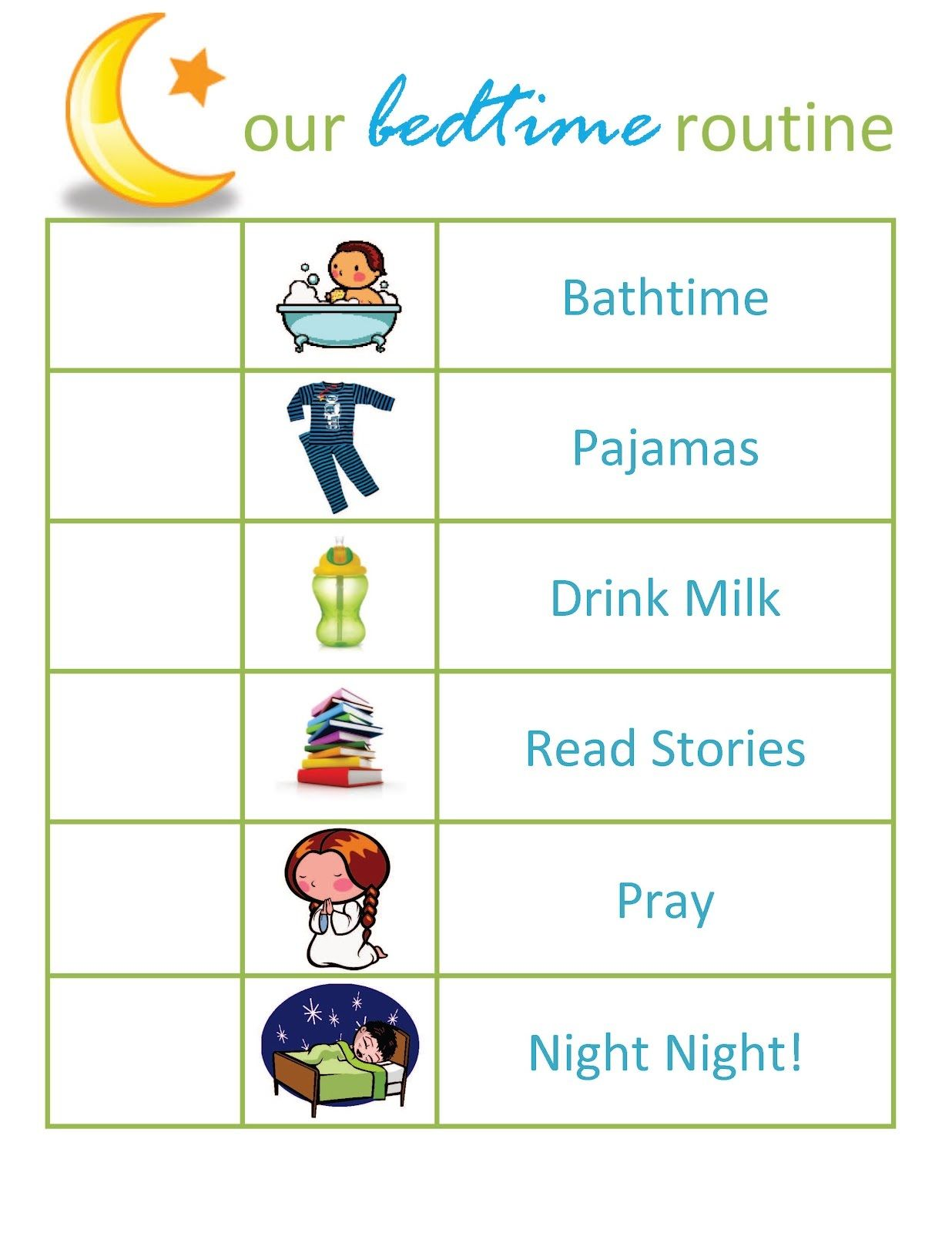 A5 Print U00 Childrenu00 S Bedtime Routine Chart Picture