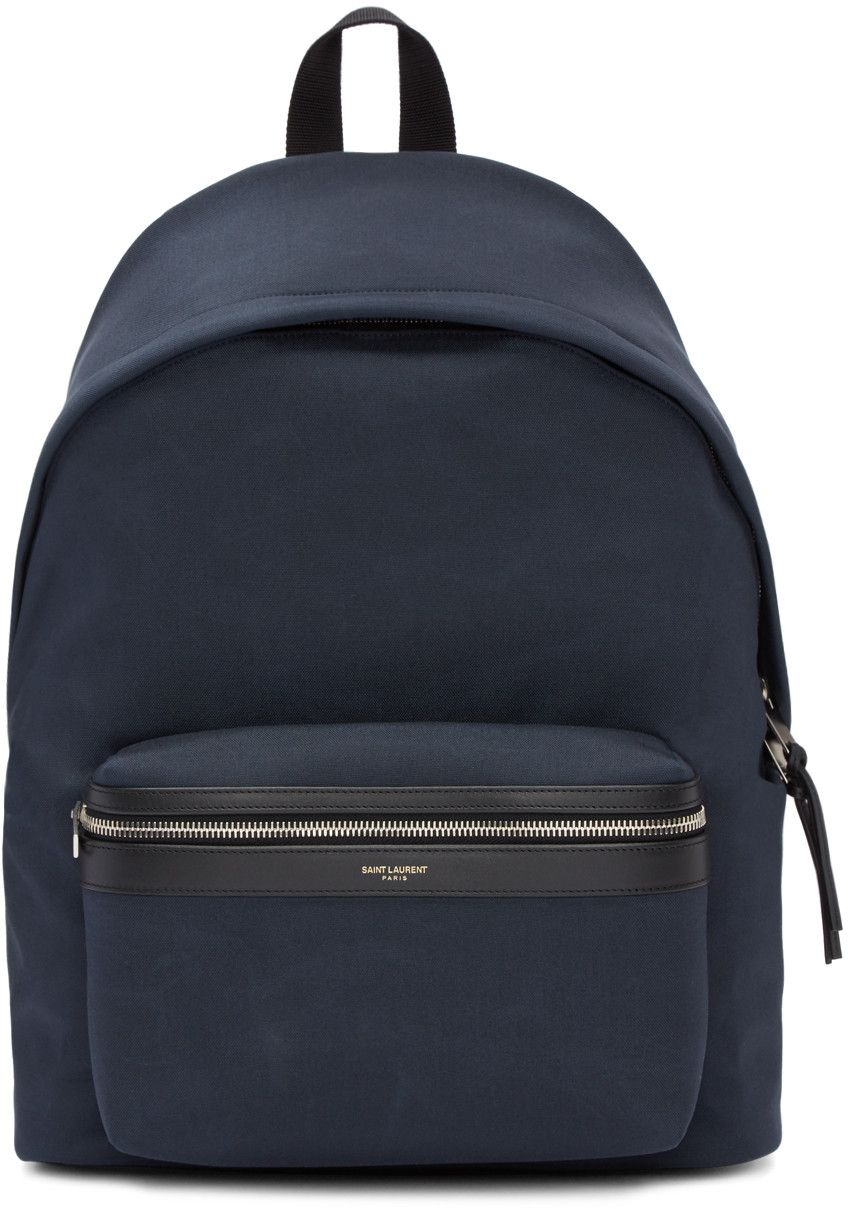 acc8e0e9d0f SAINT LAURENT Navy Classic City Backpack.  saintlaurent  bags  leather   lining  canvas  backpacks