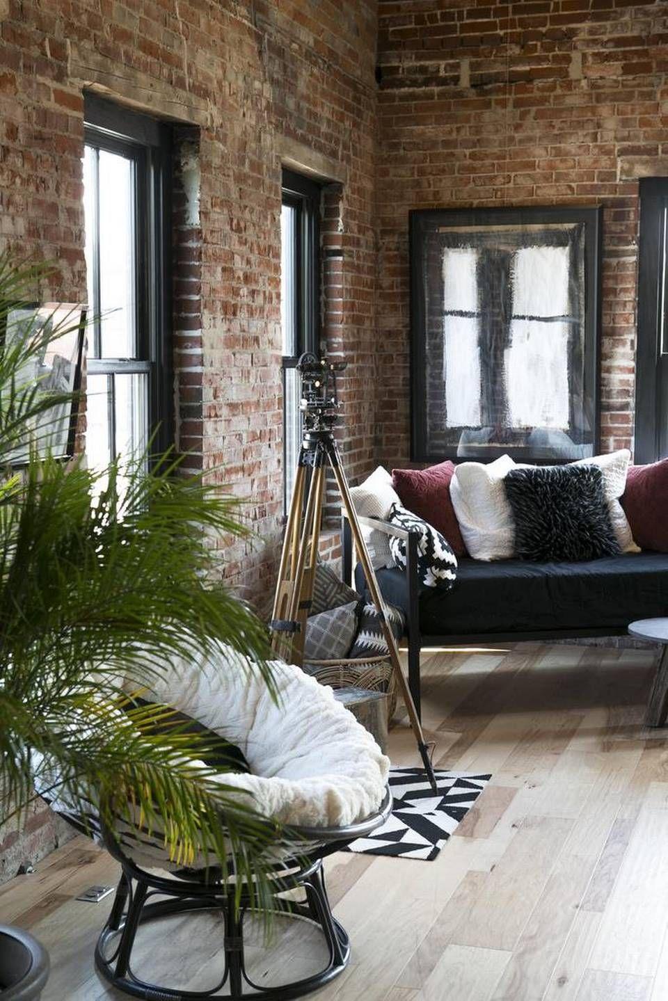 Artist And Designer Creates Urban Loft In Renovated Downtown Edwardsville Building Brick Wall Living Room Exposed Brick Wall Living Room Brick Interior
