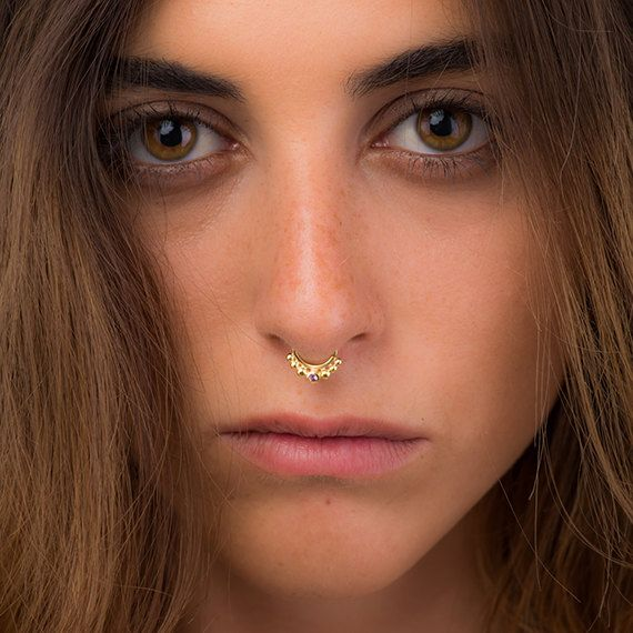 Gold Septum Ring Tribal Septum Stone Septum Real Septum Etsy Septum Jewelry Septum Ring Hoop Earrings Small