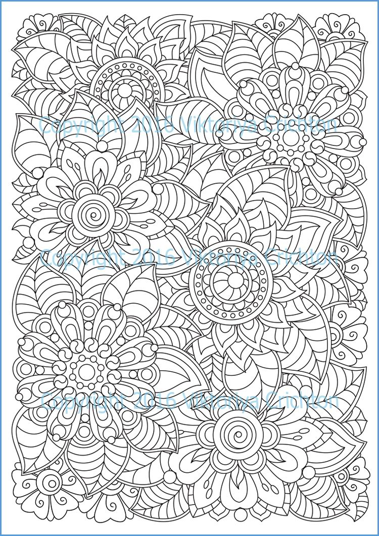 COLOURING PAGE doodle flowers, printable adults, digital PDF ...