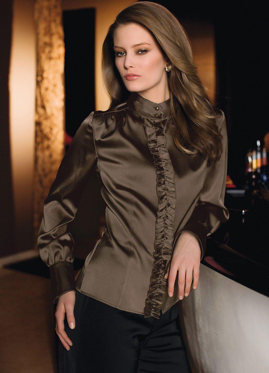 Pin by Roaa Alfatih on Bluse | Satin blouses, Beautiful