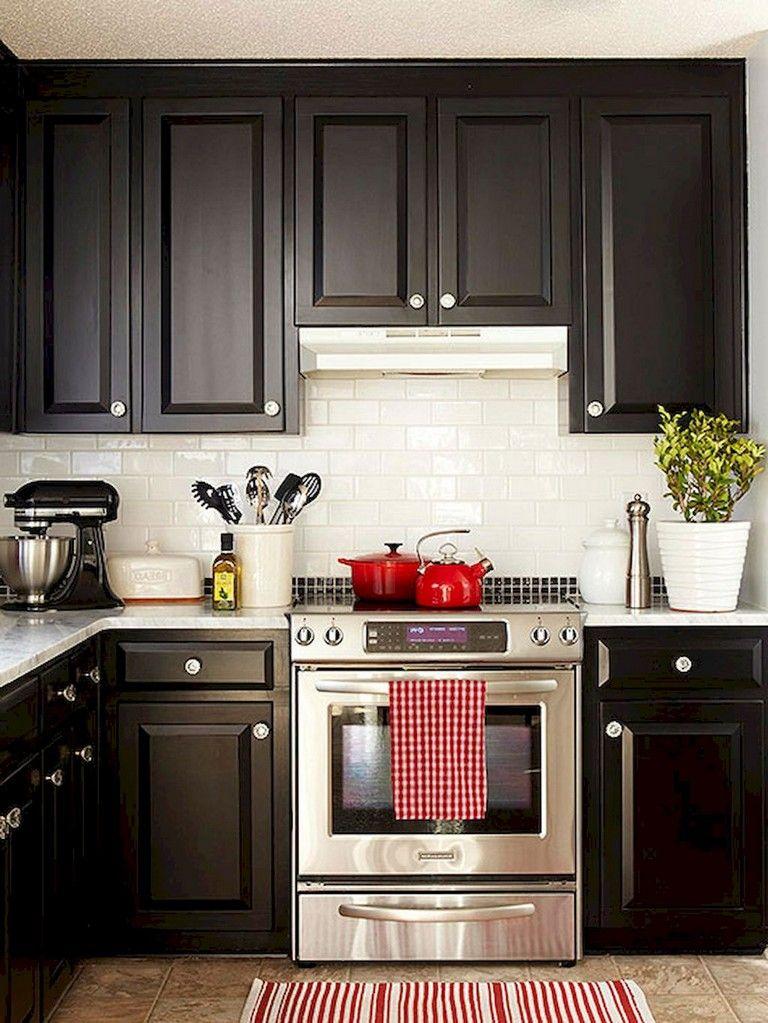 80 beautiful kitchen backsplash decor with dark cabinets kitchen rh pinterest com