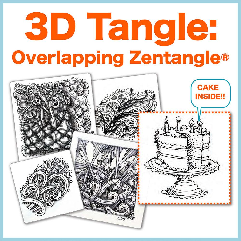 3DTangle Overlapping Zentangle® Zentangle, 3d drawings