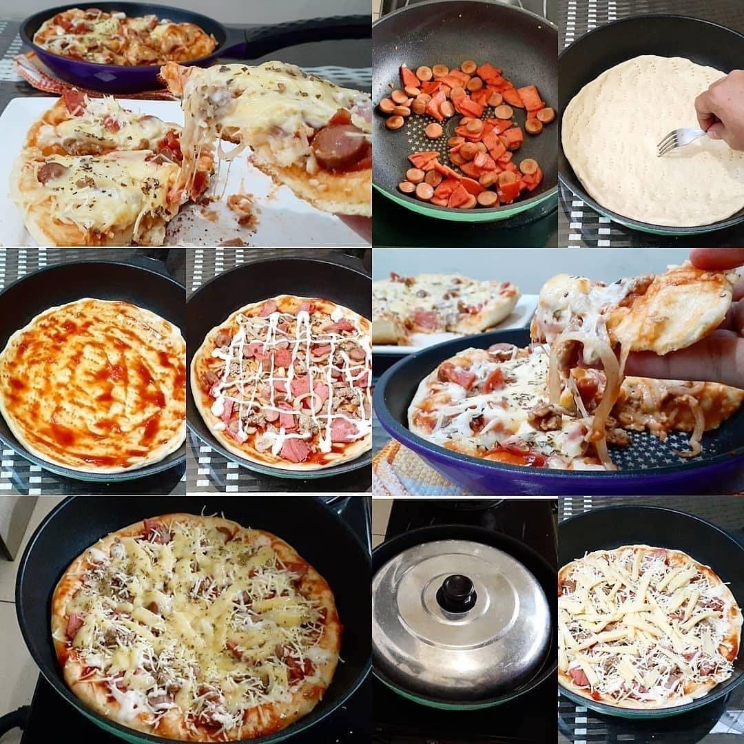 Resep Pizza Teflon Anti Gagal 1 Jam An Selesai Cocok Untuk Pemula Resep Di 2020 Kue Lezat Pizza Cheddar