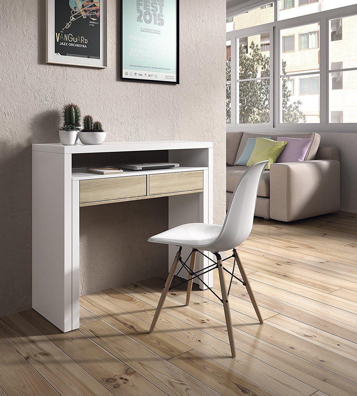 Mesa consola escritorio, mesa extensible, mesa para despacho, Blanco ...