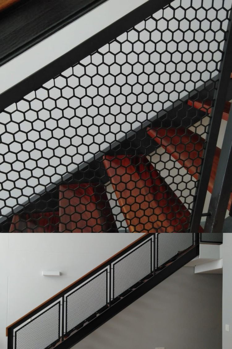 Hexagonal Perforated Mild Steel Sheet Balustrades Manufactured And Installed By Sterianos Engineering Cc This Hexa In 2020 Mild Steel Sheet Steel Sheet Manufacturing