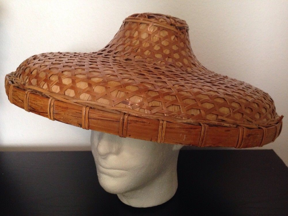 529806ba1 vtg COOLIE HAT Asian sun rice patty bamboo straw conical Chinese Japan tall  cone VTG CONICAL