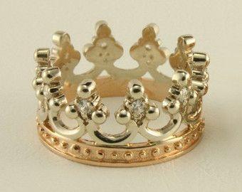 Crown Gold Ring Wedding Band Men Women By Weddingrings