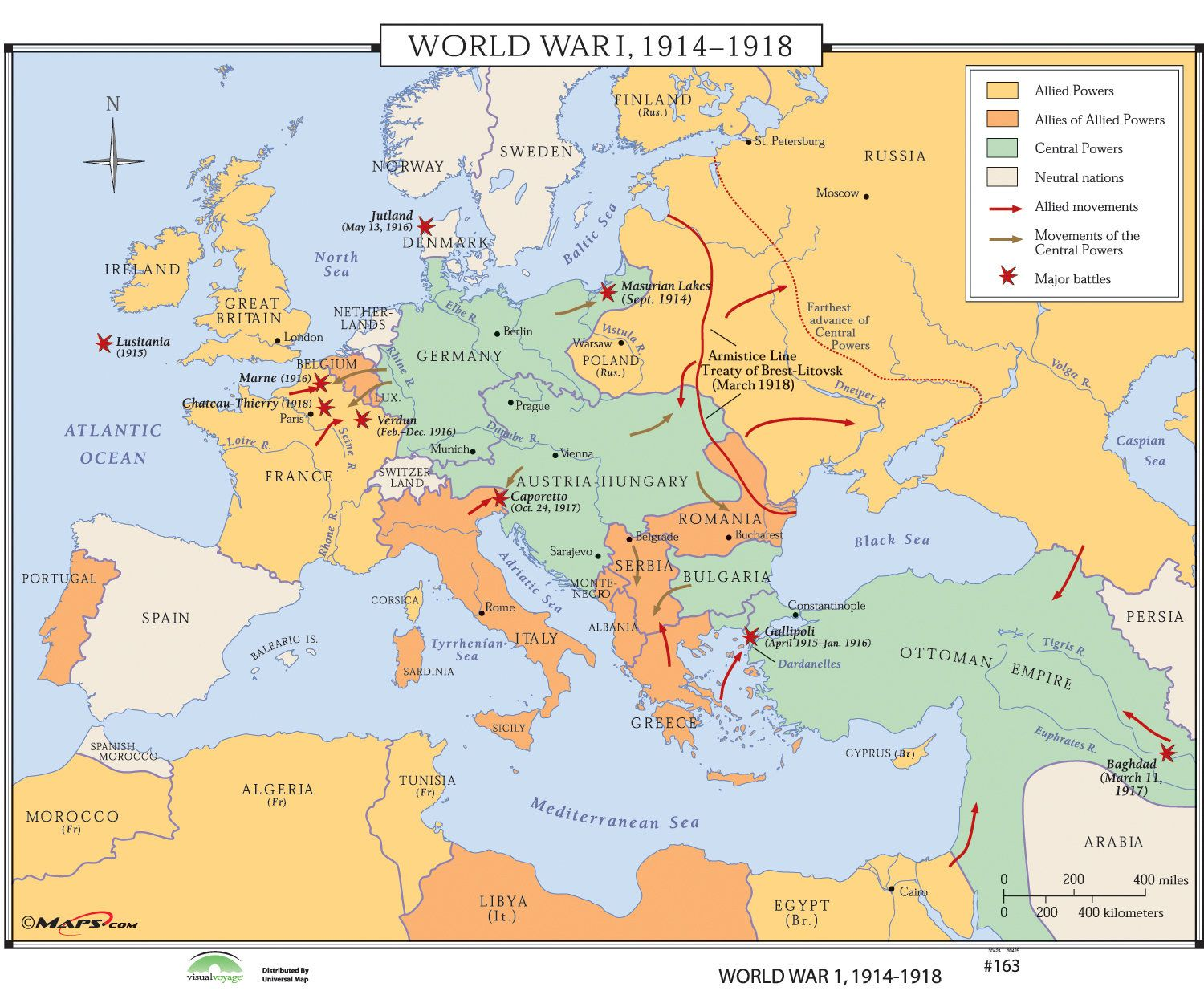 World History Wall Maps - World War I 1914-1918 | Geography ... on world map of croatia and bosnia, world war one serbia on a map, world war 2 timeline events, world map bosnia and herzegovina,