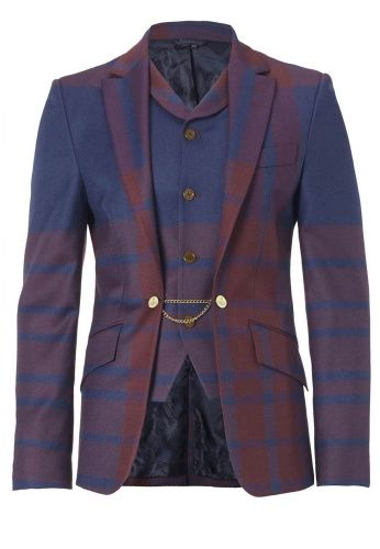 Tried on this dashing Vivienne Westwood navy + Bordeaux tartan check jacket  with built-in, buttoned waistcoat today.