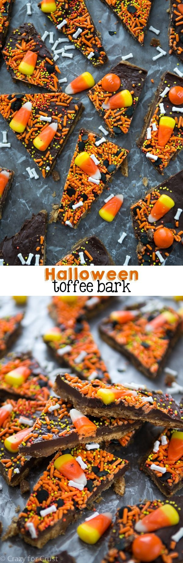This Halloween Toffee Bark is made with graham crackers and candy corn!