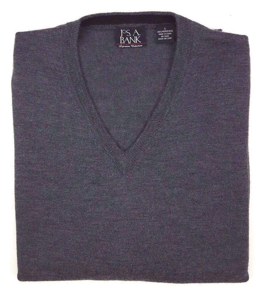 Jos A Bank Merino Wool Sweater Large Size V Neck Mens Sz Signature Collection Sz Josabank Vneck Vneck Sweater Sweaters New Signature Collection
