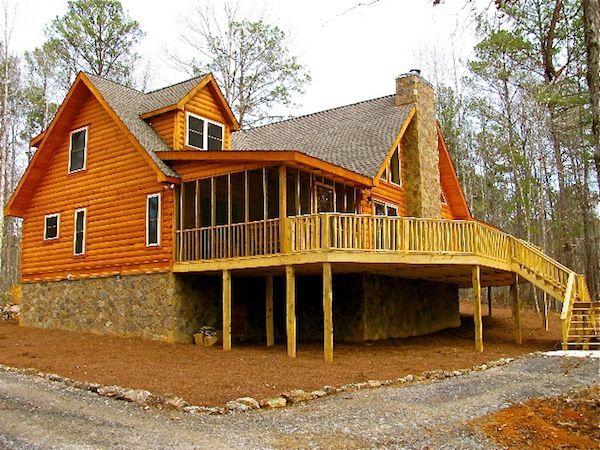 Decks log cabin log home logcabin jocassee log home for Log home decks