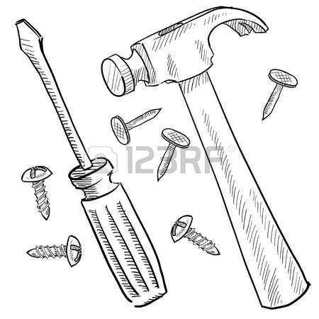 Doodle Herramientas De Estilo O Ilustracion Vectorial Mejoras Para El Hogar Con El Mar Dibujos De Martillos Carpintero Dibujo Plantillas De Fondo De Powerpoint