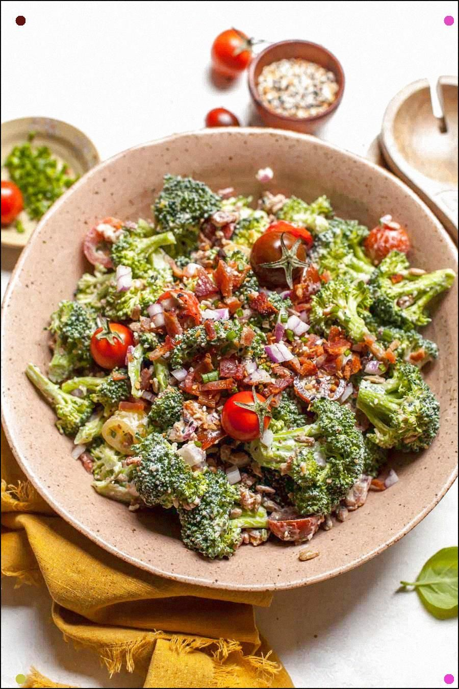 Broccoli salad with everything bagel spice and goat cheese