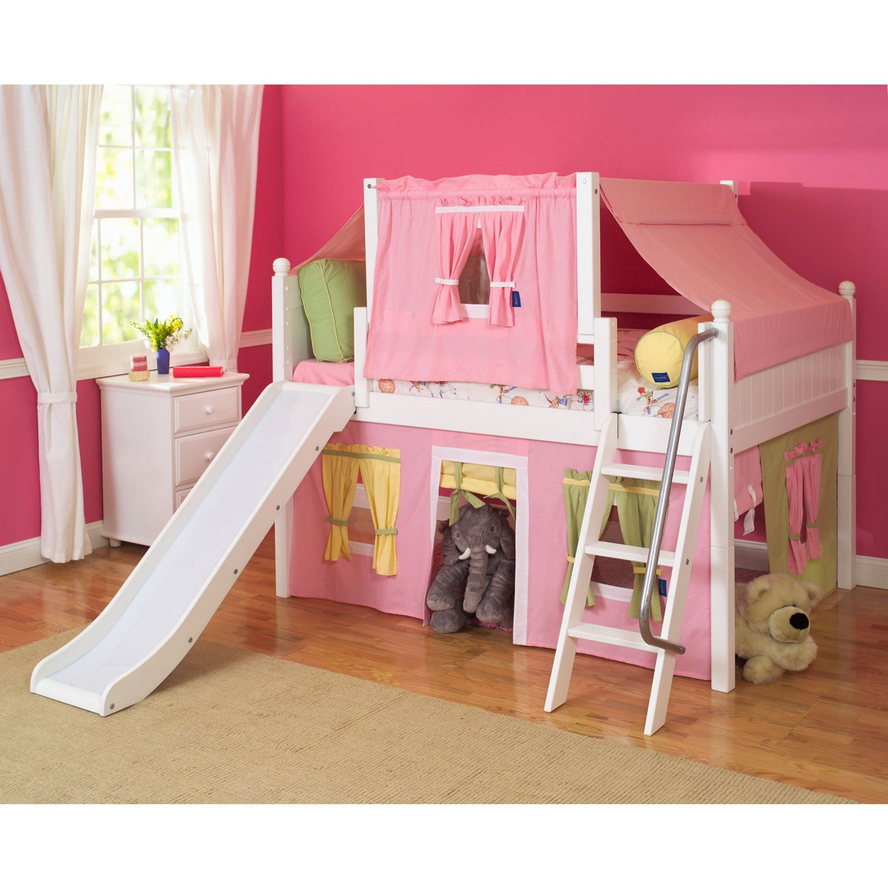 Loft bed with slide and tent  Wow Girl II Deluxe Panel Low Loft Tent Bed with Slide  MXTX