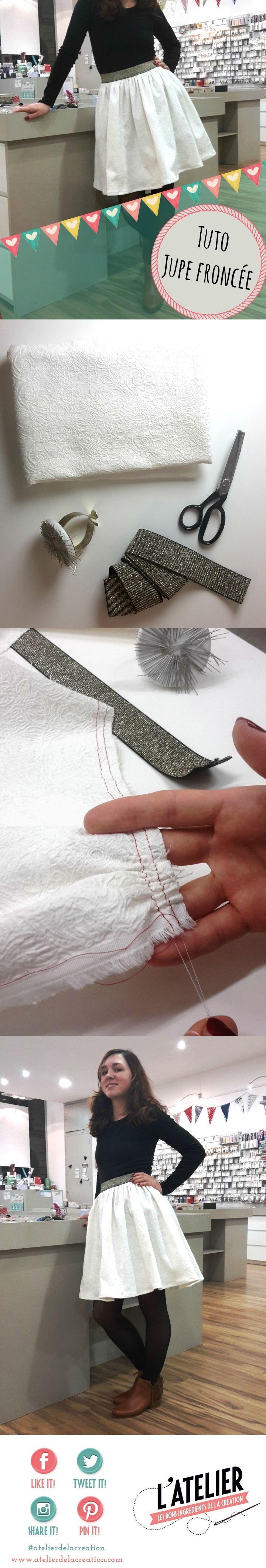jupe fronc e lastique tuto par l 39 atelier de la cr ation et pik et kou couture pinterest. Black Bedroom Furniture Sets. Home Design Ideas