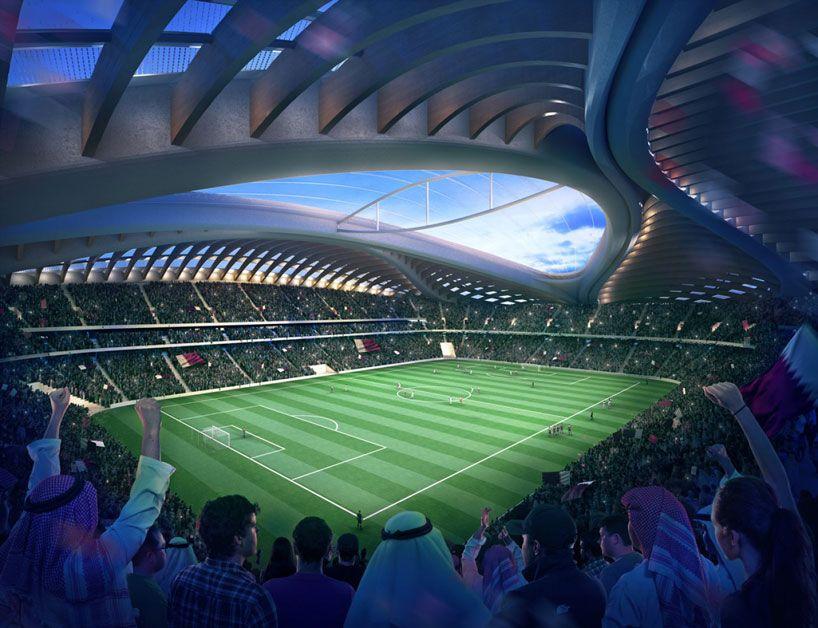 Zaha Hadid Unveils Qatar 2022 Fifa World Cup Stadium Design Stadium Architecture Zaha Hadid Stadium Design