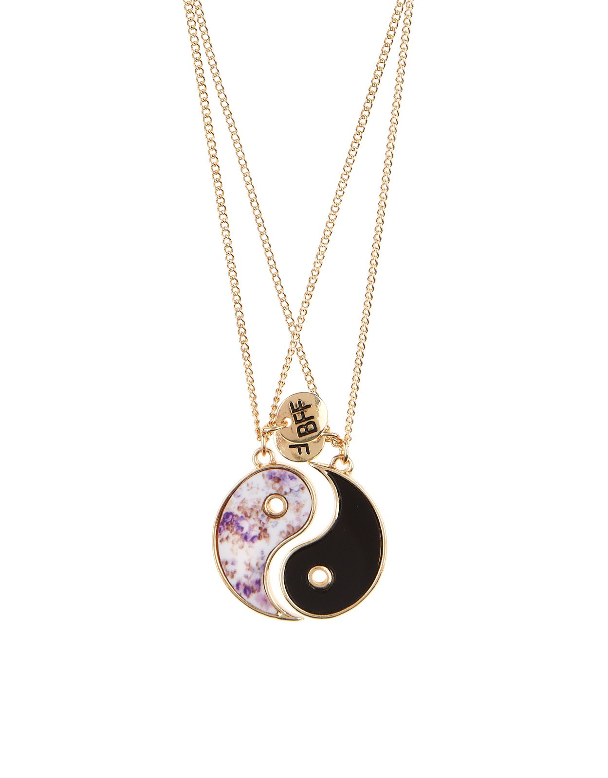 6bab2b606 One for you, one for your bestie: this set of two friendship necklaces are  designed with ying-yang pendants and 'BFF' embossed disc charms.