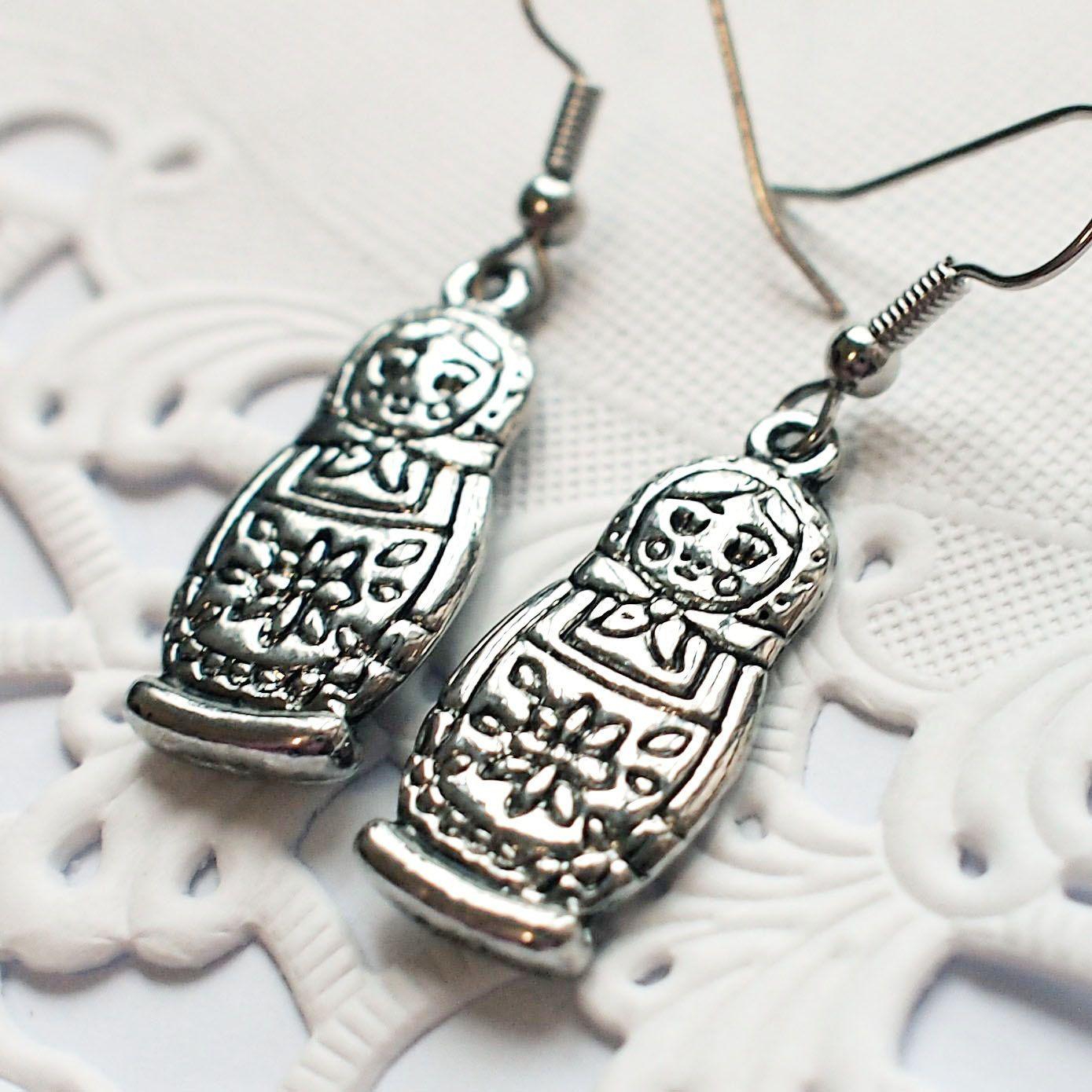 Matryoshka Earrings, Antique Silver Russian Nesting Doll Babushka Pendant Dangle Piercing E008. $11.00, via Etsy.