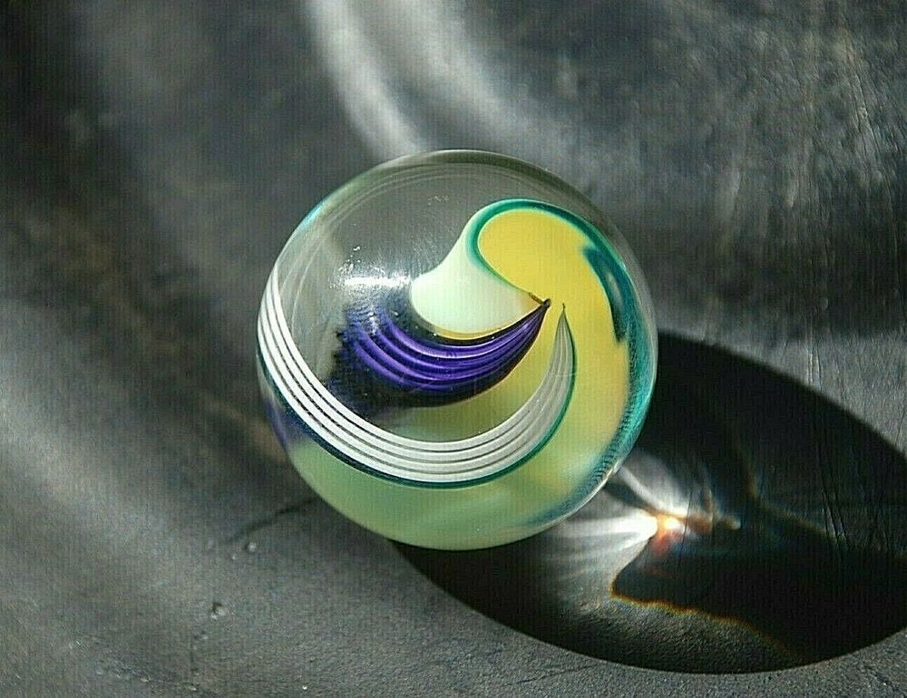 Big 1 3 8 Vintage Glass Marble Purple Yellow Flowing Stripes Cats Eye Swirls Unknown In 2020 Glass Marbles Striped Cat Purple Yellow
