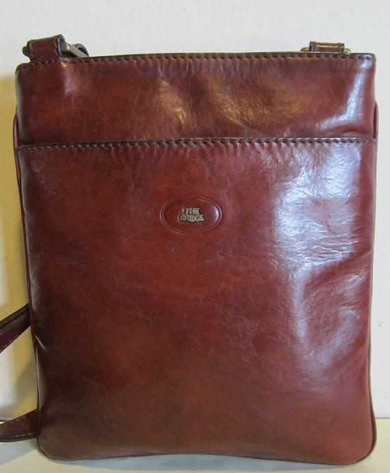 Fab Italian Vintage Brown Leather Cross Over Bag Shoulderbag The Bridge Near Mint