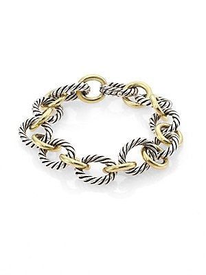David Yurman 18k Yellow Gold Sterling Silver Chain Link Bracelet