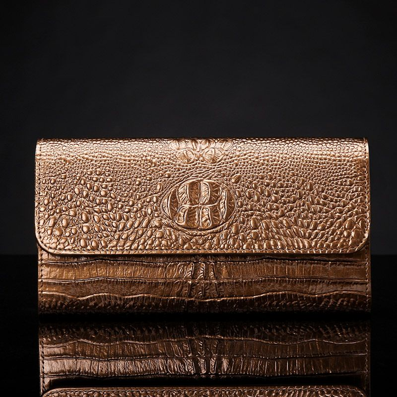 Top Fashion 100% First Layer Cowhide Luxury Patent Leather Vintage Alligator Long Women Clutch Wallets Big Capacity Party Bags