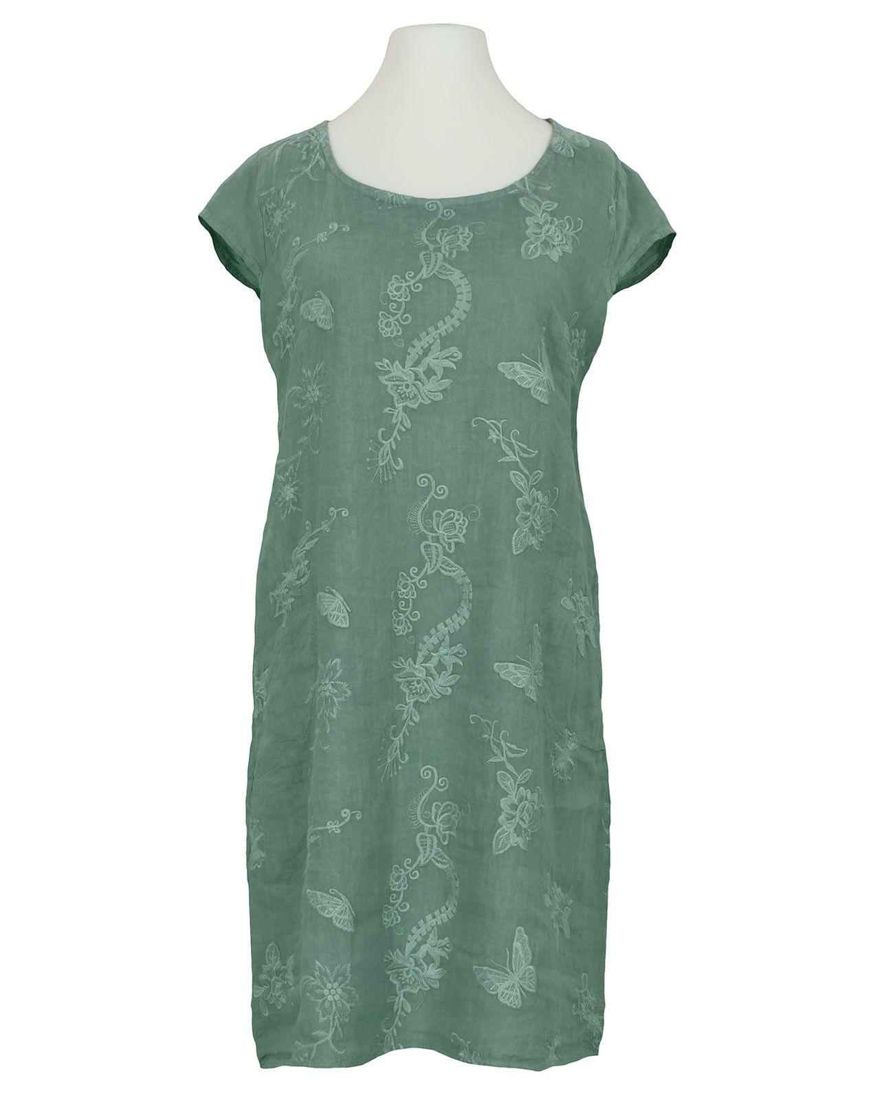 leinenkleid mit stickerei, lindgrün bei meinkleidchen kaufen