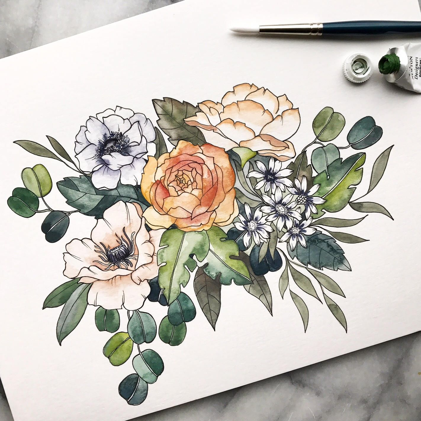 Flower Bouguets With Images Floral Watercolor Poppy Drawing