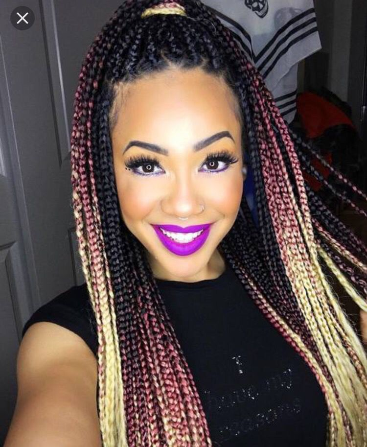 Black Pink Gold Ombre Braids Natural Box Braids Braids Box
