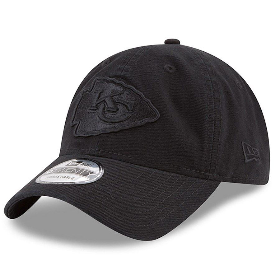 2e5fe7fe Men's Kansas City Chiefs New Era Black Tonal 9TWENTY Adjustable Hat ...