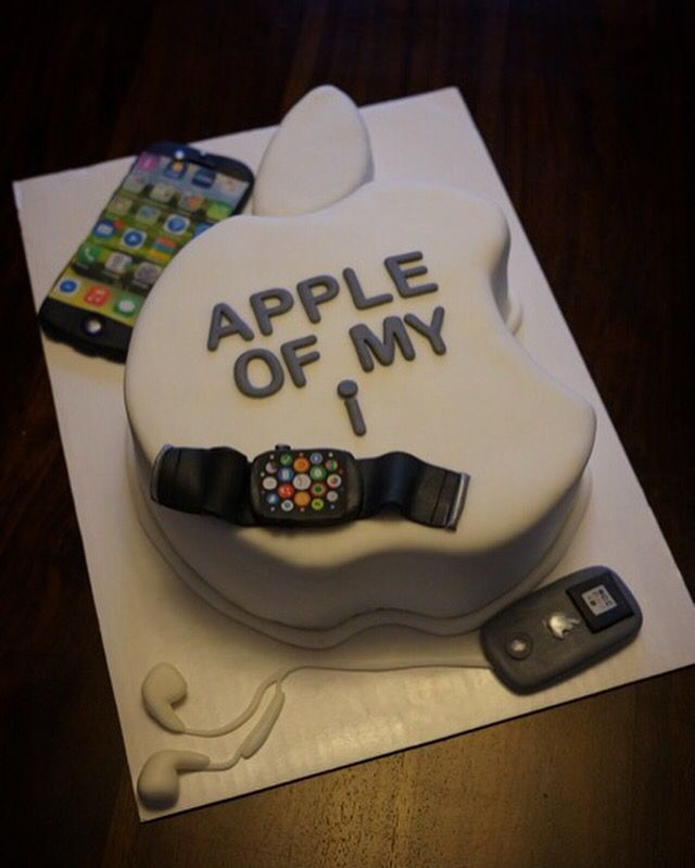 Tremendous Apple Watch Ipod Iphone6S Cake Apple Logo Cake Bakerilly Personalised Birthday Cards Arneslily Jamesorg