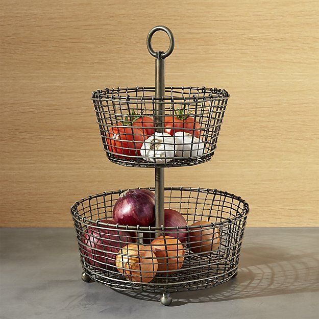 Bendt 2 Tier Iron Fruit Basket Reviews Crate And Barrel In 2020 Wire Fruit Basket Tiered Fruit Basket Crate Barrel