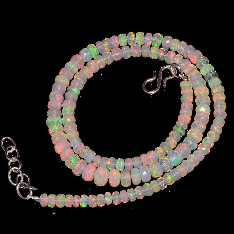 """56CRTS 4.5to6MM 18"""" ETHIOPIAN OPAL FACETED RONDELLE BEADS NECKLACE OBI2141 #OPALBEADSINDIA"""